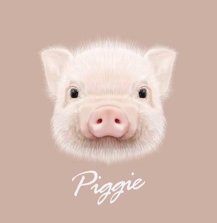Cute head of little Piggy on tan background.