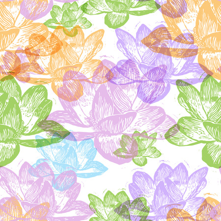 Colorful engraved water lily flowers on white background Illustration