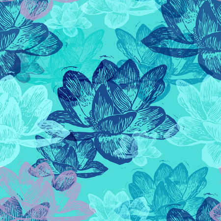 Colorful engraved water lily flowers on blue background