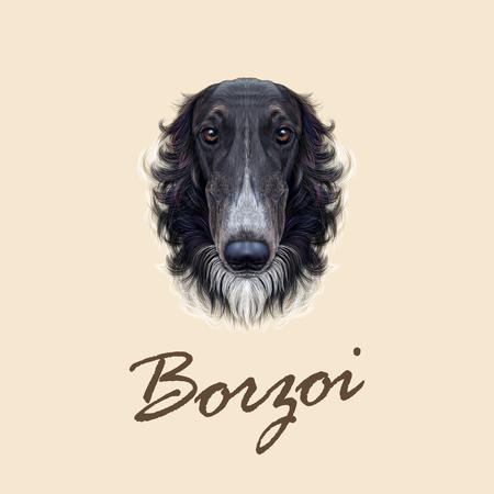 borzoi: Cute face of black greyhound domestic dog ob yellow background.