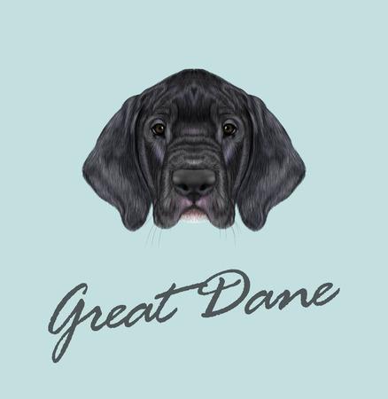 pug nose: Cute face of black domestic dog on blue background. Illustration