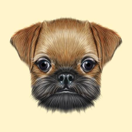 Leuk bebaarde gezicht van de binnenlandse hond op gele achtergrond.