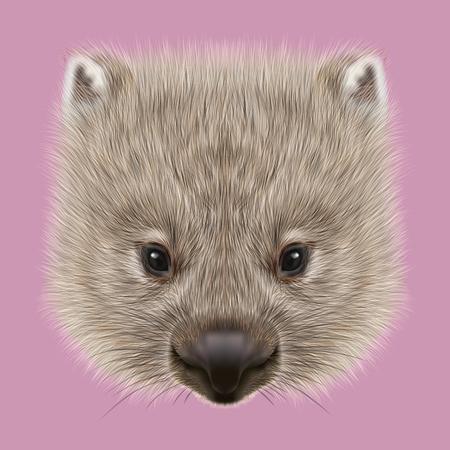 분홍색 배경에 호주 포유 동물의 귀여운 얼굴입니다.