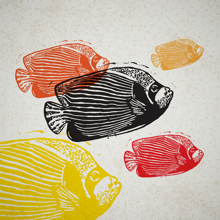 linocut: Vector Emperor angelfish in abstract composition. Linocut fishes in different colours on the old paper