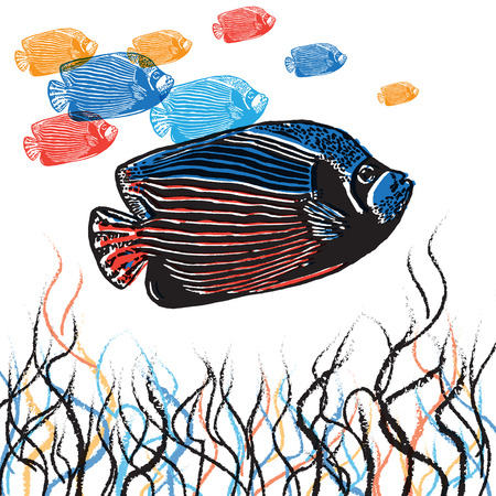 linocut: Vector Emperor angelfish in abstract composition. Linocut fishes in different colours on the white background