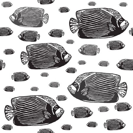 angelfish: Emperor angelfish black and white seamless vector pattern. Realistic engraved style of fishes on white background.