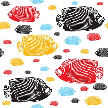 coralfish: Emperor angelfish colourful seamless vector pattern. Realistic engraved colourful style of fishes on white background.