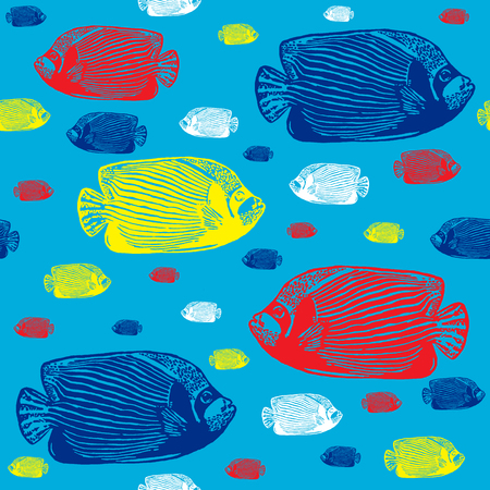angelfish: Emperor angelfish colourful seamless vector pattern. Realistic engraved colourful style of fishes on blue background.