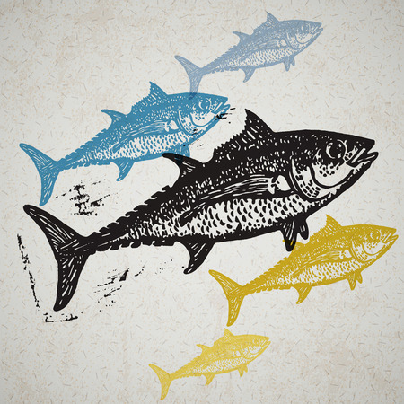 ichthyology: Vector Tuna fishes in abstract composition. Linocut fishes in different colors on the old paper