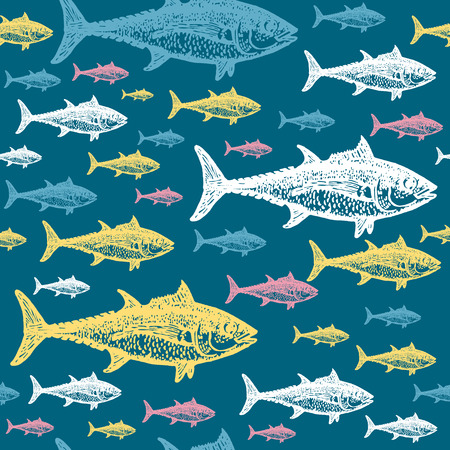 tunny: Tuna fish colourful seamless vector pattern. Realistic engraved style of fishes on blue background.