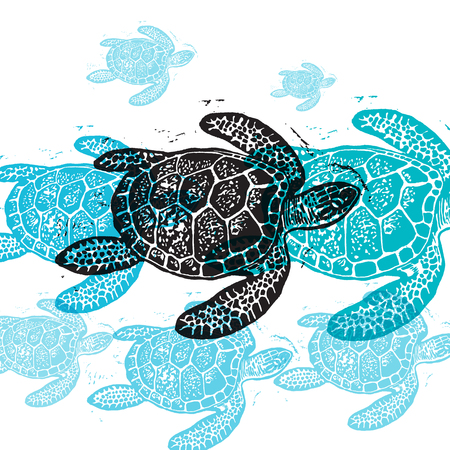 Vector Sea Turtle in abstract composition. Linocut Sea Turtles in different colors on white background