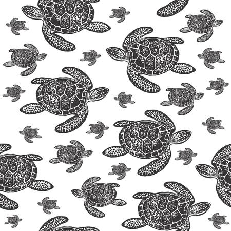 ウミガメの黒と白のシームレスなベクトル パターン。白い背景の上の海カメの現実的な刻まれたスタイル。