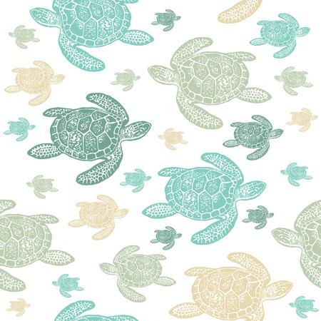 ウミガメのカラフルなシームレス パターン。白い背景の上の海カメの現実的な刻まれたスタイル。  イラスト・ベクター素材