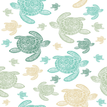 Sea Turtles colourful seamless vector pattern. Realistic engraved style of Sea Turtles on white background.