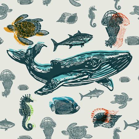 animales marinos sin fisuras vector patrón colorido. estilo grabado realista de los animales de mar en el papel viejo.