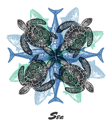 tuna fish: Vector Sea mood Engraved fractal outlet composition. Bright colored composition with sea turtlie and tuna fish