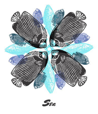 emperor: Vector Sea mood Engraved fractal outlet composition. Bright colored composition with Emperor angelfish, tuna fish and shell
