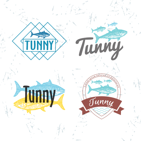 tunny: Vector colourful logo set with tuna fish. The tuna as main element of logotypes on white background