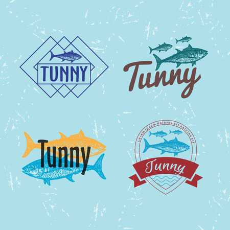 tuna fish: Vector colourful logo set with tuna fish. The tuna as main element of logotypes on blue background