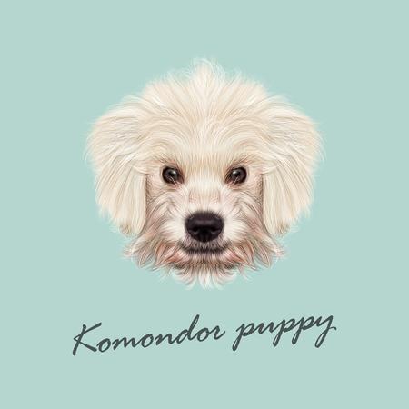 벡터 Komondor 강아지의 초상화를 보여줍니다. 파란색 배경에 국내 개 귀여운 흰 솜 털 얼굴. 일러스트