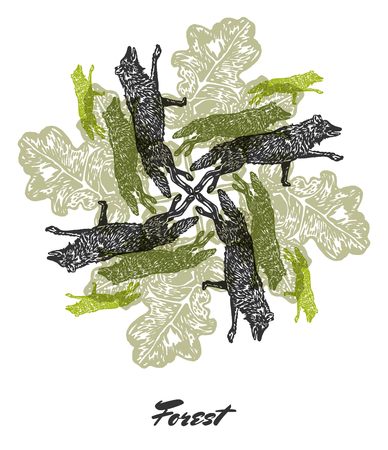 oak leaves: Vector Forest mood Engraved fractal outlet composition. Bright colored composition with wolfs and oak leaves Illustration