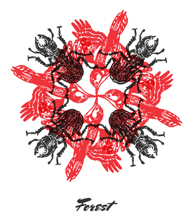 stag beetle: Vector Forest mood Engraved fractal outlet composition. Bright colored composition with forest woodpecker and stag beetle Illustration