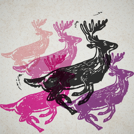 Vector reindeer in abstract composition. Linocut reindeers in different colors on the old paper