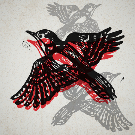 ornithological: Vector woodpeckers in abstract composition. Linocut woodpeckers in flight in different colors on the old paper
