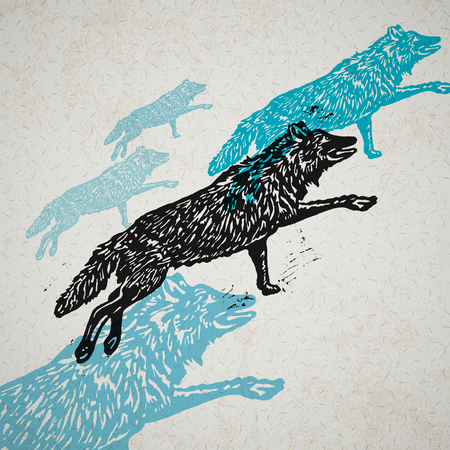 Vector wolves in abstract composition. Linocut wolves in different colors on on the old paper Иллюстрация