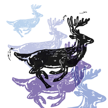 Vector reindeer in abstract composition. Linocut reindeers in different colors on white