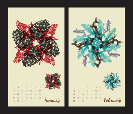 amphibia: Animal printable calendar 2017 with flora and fauna fractals on beige background. Set 1 - January and february pages