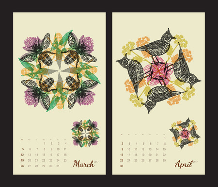amphibia: Animal printable calendar 2017 with flora and fauna fractals on beige background. Set 2 - March and April pages