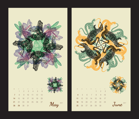 amphibia: Animal printable calendar 2017 with flora and fauna fractals on beige background. Set 3 - May and June pages