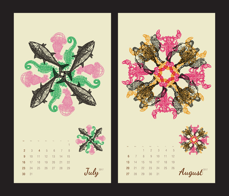 amphibia: Animal printable calendar 2017 with flora and fauna fractals on beige background. Set 4 - July and August pages