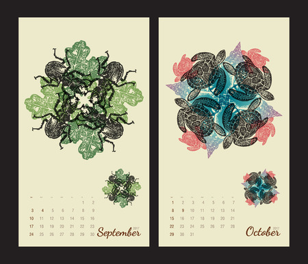 amphibia: Animal printable calendar 2017 with flora and fauna fractals on beige background. Set 5 - September and October pages Illustration