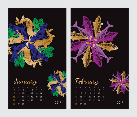Animal printable calendar 2017 with flora and fauna fractals on black background. Set 1 - January and february pages Illustration