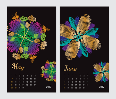 amphibia: Animal printable calendar 2017 with flora and fauna fractals on black background. Set 3 - May and June pages