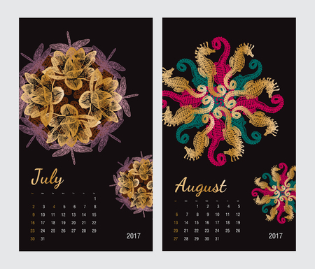 august: Animal printable calendar 2017 with flora and fauna fractals on black background. Set 4 - July and August pages