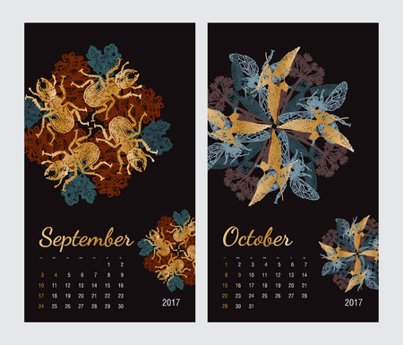 amphibia: Animal printable calendar 2017 with flora and fauna fractals on black background. Set 5 - September and October pages