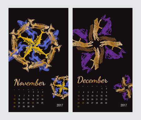 amphibia: Animal printable calendar 2017 with flora and fauna fractals on black background. Set 6 - November and December pages Illustration