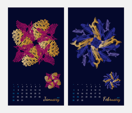 amphibia: Animal printable calendar 2017 with flora and fauna fractals on dark blue background. Set 1 - January and february pages