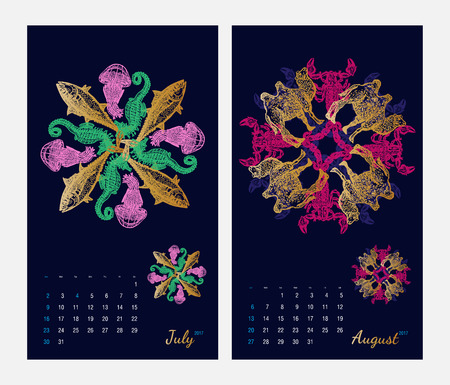 amphibia: Animal printable calendar 2017 with flora and fauna fractals on dark blue background. Set 4 - July and August pages