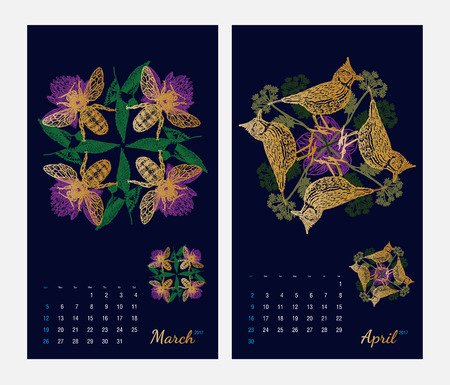 amphibia: Animal printable calendar 2017 with flora and fauna fractals on dark blue background. Set 2 - March and April pages