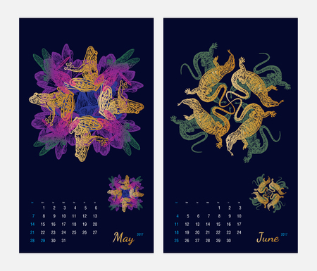 amphibia: Animal printable calendar 2017 with flora and fauna fractals on dark blue background. Set 3 - May and June pages Illustration