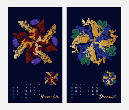 amphibia: Animal printable calendar 2017 with flora and fauna fractals on dark blue background. Set 6 - November and December pages