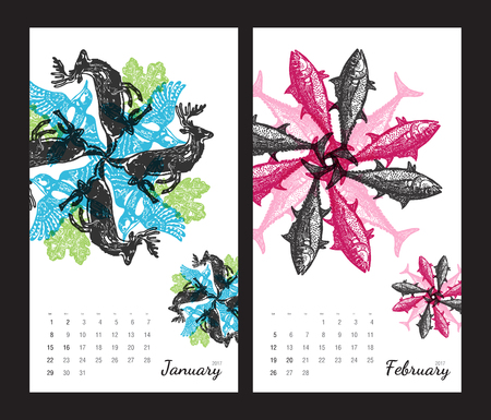 amphibia: Animal printable calendar 2017 with flora and fauna fractals on white background. Set 1 - January and february pages
