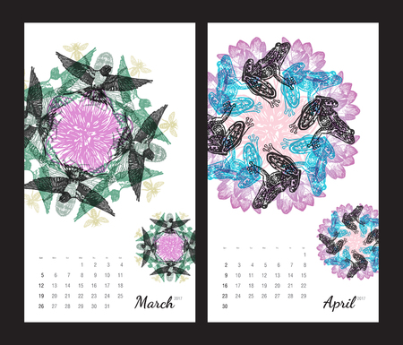 amphibia: Animal printable calendar 2017 with flora and fauna fractals on white background. Set 2 - March and April pages