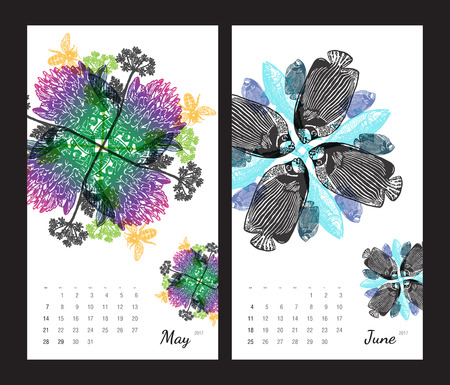 amphibia: Animal printable calendar 2017 with flora and fauna fractals on white background. Set 3 - May and June pages
