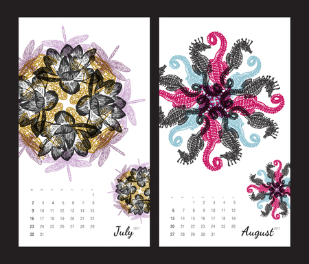 amphibia: Animal printable calendar 2017 with flora and fauna fractals on white background. Set 4 - July and August pages