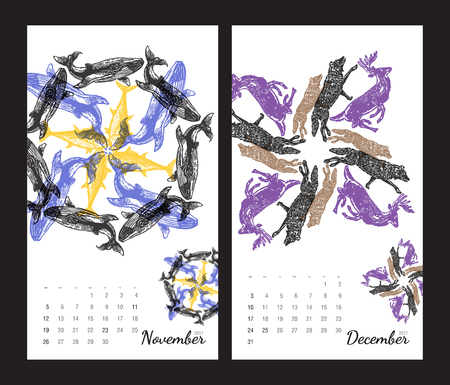 amphibia: Animal printable calendar 2017 with flora and fauna fractals on white background. Set 6 - November and December pages Illustration